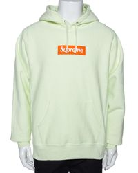 Supreme Pale Green Knit Logo Embroidered Hoodie L