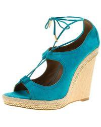 Aquazzura - Turquoise Suede Christie Wedge Espadrille Lace Up Open Toe Sandals - Lyst