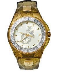 Gianfranco Ferré Yellow Gold Plated Stainless Steel Rubber Diamond Gf.9024j Wristwatch