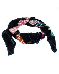 Louis Vuitton Limited Edition Neon Great Adventures Giant Square Silk Scarf - Blue