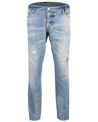 DSquared² Indigo Light Wash Faded Effect Distressed Denim Slim Jeans 3xl - Blue