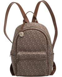 DKNY Beige/brown Signature Coated Canvas And Leather Casey Backpack - Natural