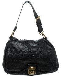 Marc By Marc Jacobs - Dreamy Logo Leather Puckered Mouse Hobo - Lyst