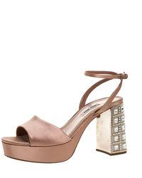 Miu Miu Nude Pink Satin Crystal Embellished Heel Platform Sandals