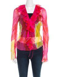 Dior Christian Pink And Yellow Printed Sheer Silk Wrap Top