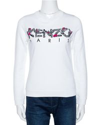 KENZO White Logo Embroidered Cotton Long Sleeve Sweatshirt