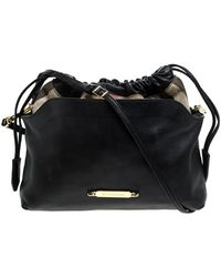 Burberry Black House Check Canvas And Leather Little Crush Crossbody Bag