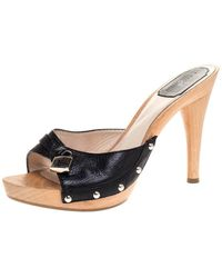 Dior Black Leather Lock Wooden Clog Slide Sandals