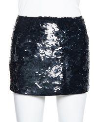 JOSEPH Black Sequin Embellished Silk Mini Skirt
