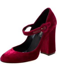 Dolce & Gabbana Burgundy Velvet Mary Jane Court Shoes - Red