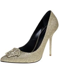 Versace Gold Glitter Fabric Medusa Pointed Toe Court Shoes - Metallic