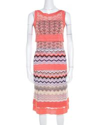 Missoni Orange Patterned Cotton Knit Sleeveless Top And Skirt Set S