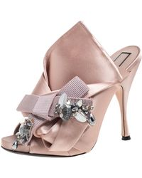 N°21 Beige Satin Embellished Knot Mule Sandals - Natural