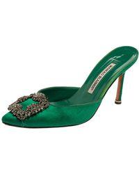 Manolo Blahnik Royal Green Satin Hangisi Pointed Toe Mules