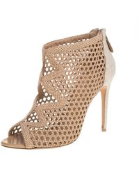 Alexandre Birman Beige Nude Leather And Canvas Caged Sandals - Natural