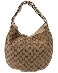 Gucci Beige/cream GG Canvas And Leather Medium Wave Hobo - Natural