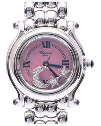 Chopard Pink Stainless Steel And Diamond Happy Sport Moon Star 27 / 8250-23 Women's Wristwatch 24mm