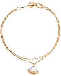 BVLGARI Divas' Dream Mother Of Pearl 18k Rose Gold Charm Bracelet Sm - Metallic