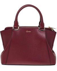Cartier Burgundy Taurillon Leather Mini C De Satchel - Multicolour