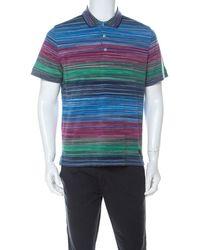 Missoni Multicolor Striped Cotton Pique Polo T Shirt L - Blue