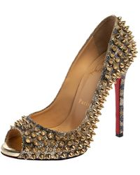 Christian Louboutin Gold Glitter Spike Peep Toe Court Shoes - Metallic