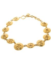 Chanel - Vintage Cc Quilted Medallion Tone Necklace - Lyst
