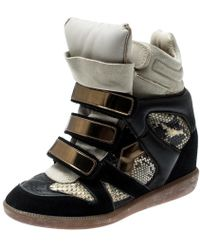 Isabel Marant Buck Leather And Suede Concealed Wedge