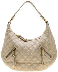 Marc Jacobs Cream Quilted Leather Banana Hobo Bag - Natural