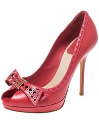 Dior Pink Leather Cannage Cut Out Bow Peep Toe Platform Court Shoes Size 36