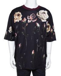 Dolce & Gabbana Navy Blue Floral Printed Cotton Crewneck T-shirt