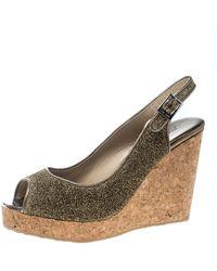 Jimmy Choo Metallic Gold Lurex Prova Slingback Cork Wedge Sandals
