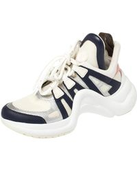 Louis Vuitton White/blue Leather And Mesh Archlight Lace Up Trainers