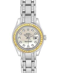 Rolex White Diamonds 18k Yellow Gold President Datejust 69138 Women's Wristwatch 26 Mm