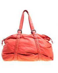 Bottega Veneta Magma Plume Leather Duffle Bag - Orange