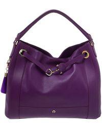 Aigner Purple Leather Cavallina Hobo