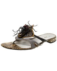 Miu Miu Multicolour Python Leather And Suede Spider Embellished Flat Sandals