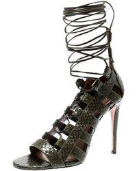 Aquazzura - Khaki Green Python Leather Amazon Lace Up Open Toe Sandals Size 35 - Lyst