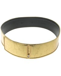 Chanel Gold Distressed Leather Waist Belt 90cm - Metallic
