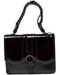 Gianfranco Ferré Burgundy Patent Leather Satchel - Black