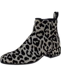 Dolce & Gabbana Black/silver Animal Print Lurex And Velvet Ankle Boots