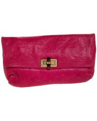 Lanvin Pink Leather Turnlock Fold Over Clutch