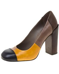 Tory Burch - Multicolor Leather Taupe Block Heel Pumps Size 36 - Lyst