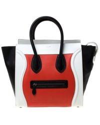 Céline - Tricolor Leather Mini Luggage Tote - Lyst
