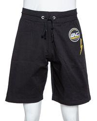 Givenchy Black Cotton Logo Embroidered Drawstring Waist Shorts