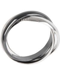 Cartier 18k White Gold Trinity Ceramic Band Ring Size 60 - Metallic