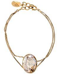 Dior Brown Crystal Tiered Gold Tone Bracelet - Metallic