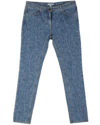 Etro Blue Patterned Denim Slim Fit Jeans L