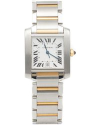 Cartier Silver Tank Francaise Steel & Yellow Gold Automatic Watch 28x32mm - Metallic