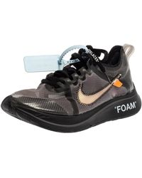 NIKE X OFF-WHITE Nike X Off-white Black/silver Mesh And Polyurethane Zoom Fly Trainers