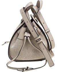 Loewe Ivory Canvas And Leather Mini Hammock Drawstring Bag - White